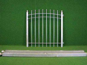 Metalltür Angebot 57 in massiver Stahlbauweise - Breite: 118cm, Höhe: 118cm inklusive Pfosten und Zubehör!