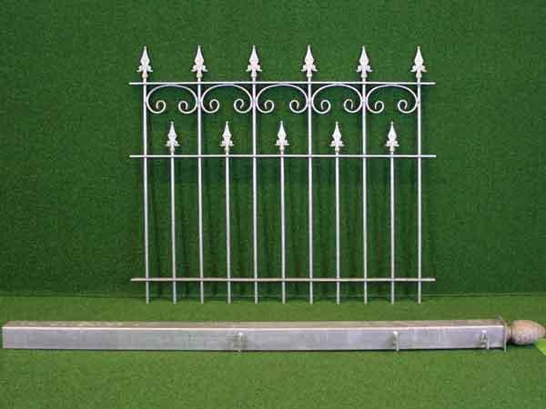 Eisenzaun Angebot 90 in massiver Stahlbauweise - Breite: 154cm, Höhe: 110cm